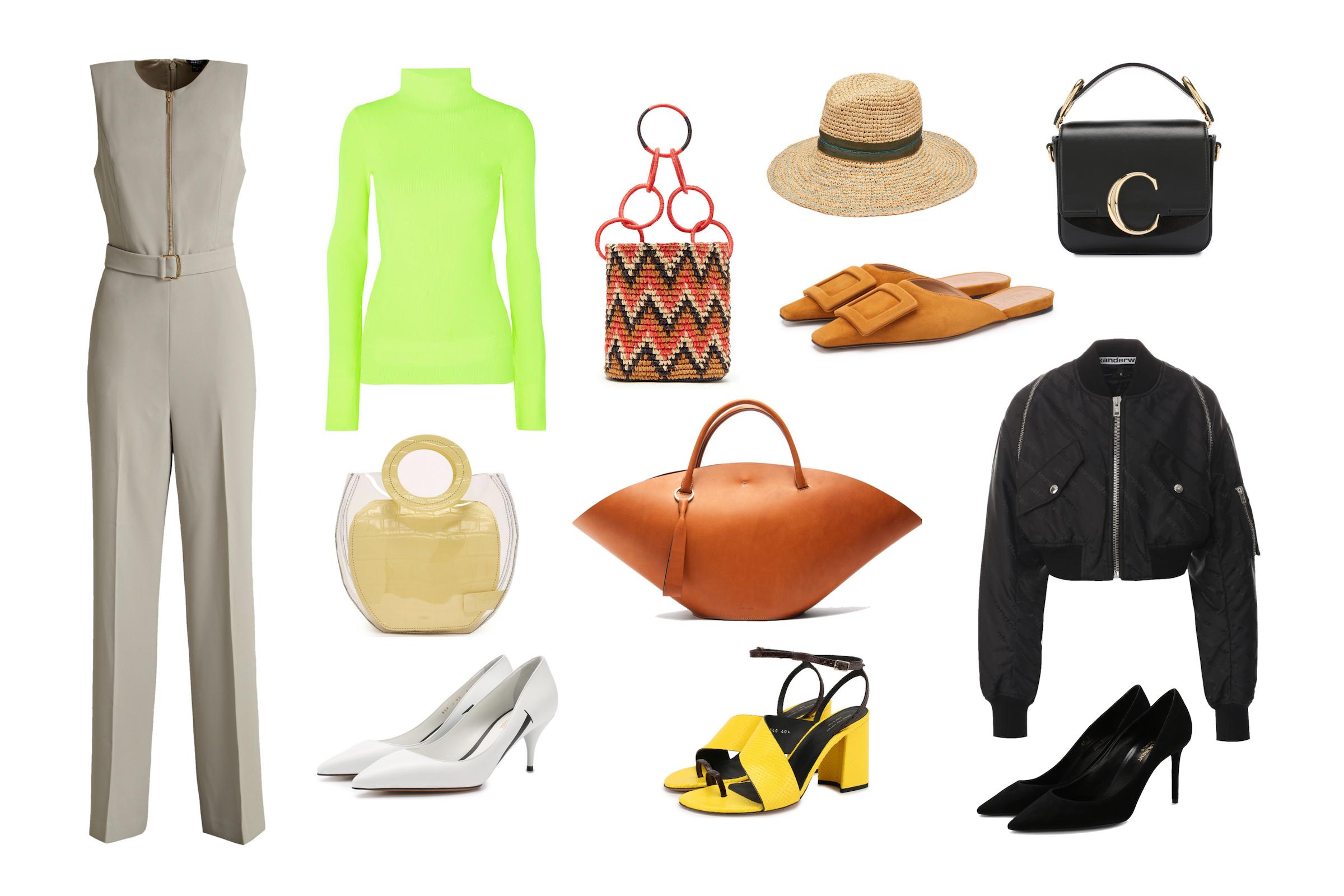 Комбинезон MARCIANO, водолазка HELMUT LANG, сумка STAUD, белые туфли VALENTINO GARAVANI, плетеная сумка SENSI STUDIO, сумка JIL SANDER, желтые босоножки DRIES VAN NOTEN, шляпа LOLA HATS, мюли MARNI, клатч CHLOE, бомбер ALEXANDER WANG, черные туфли SAINT LAURENT